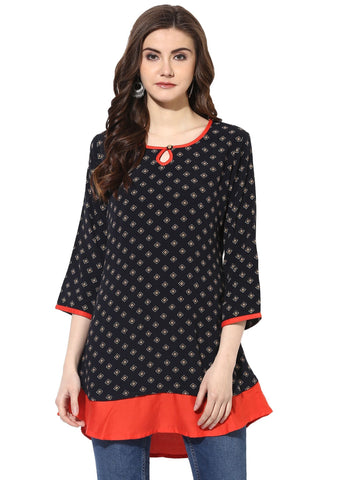 Black Color Rayon Stitched Kurti - 7000002-BLACK