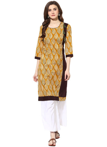 Mustard Color Cotton Stitched Kurti - 7000003-MUSTARD