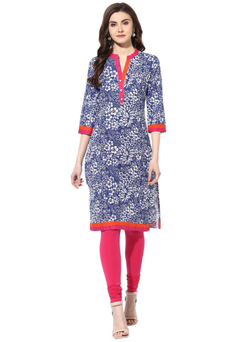 Blue Color Cotton Stitched Kurti - 7000005-BLUE