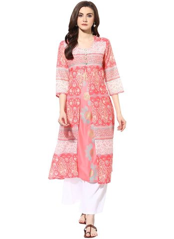 Pink Color Cotton Stitched Kurti - 7000006-PINK