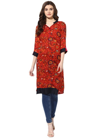 Brown Color Rayon ReadyMade Kurti - 7000008-RUST