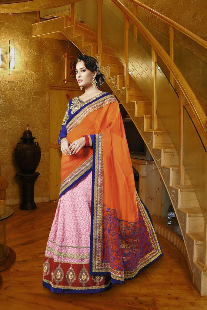 Orange Color Georgette and Jacquard Saree
