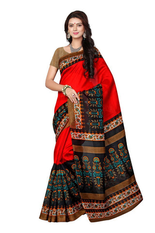 Red and Black Color Bhagalpuri Sarees - 7047