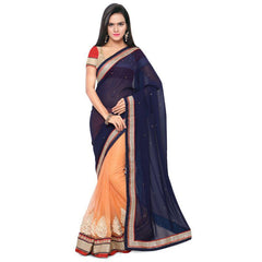 Blue Color Georgette and Net Saree