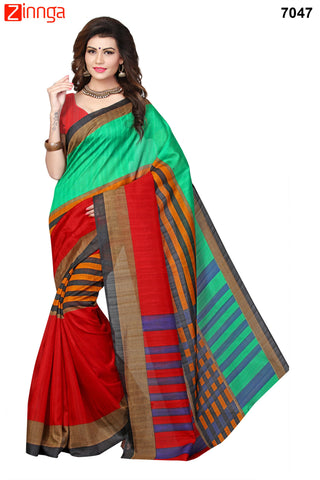 Multi Color Bhagalpuri Sarees - 7062