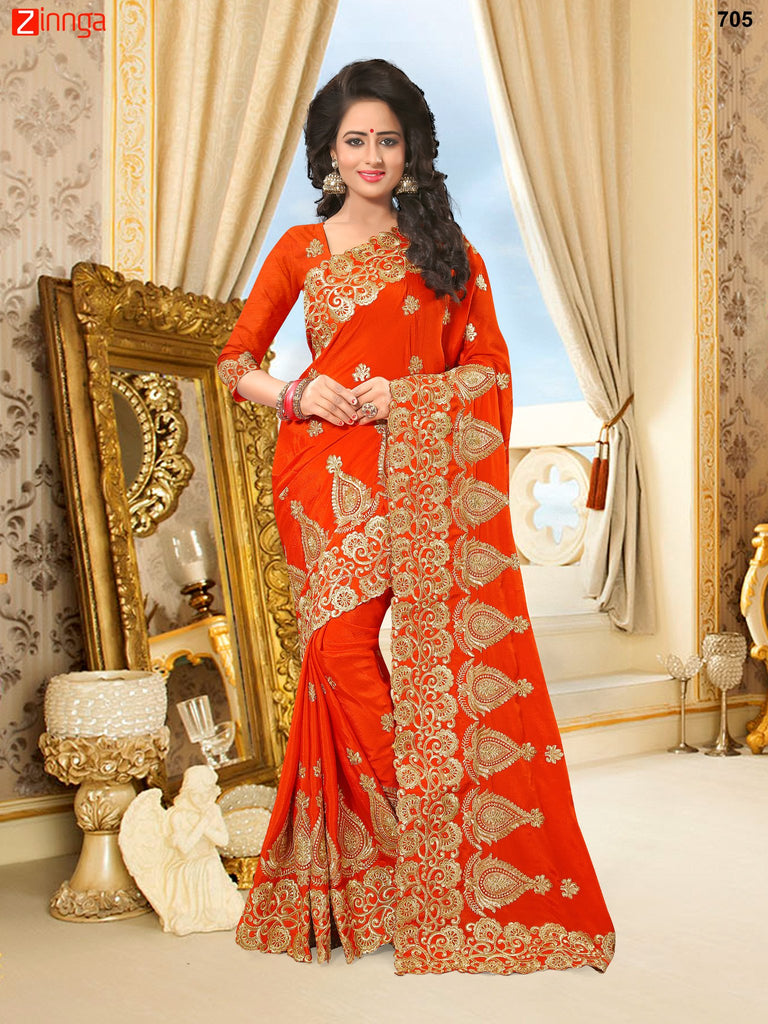 Golden Color Georgette and Net Saree