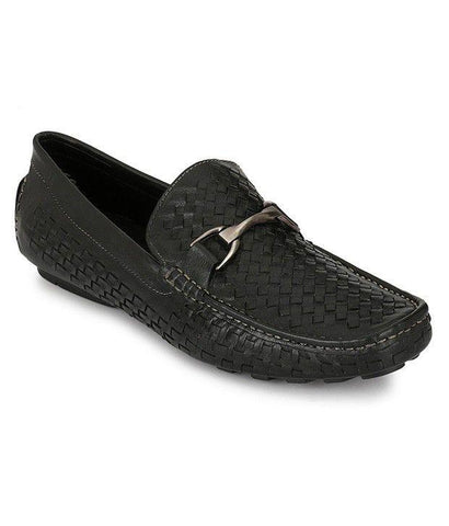 Black Color Leather Men's Loafers - 7081_Black