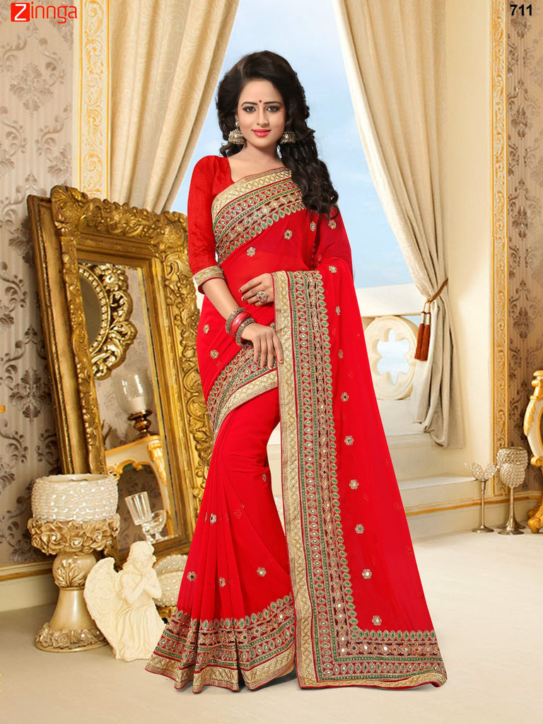 Cream Color Georgette and Net Saree