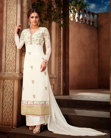 Off White Color Viscos Georgette Women's Un-Stitched Salwar Suit - 7191