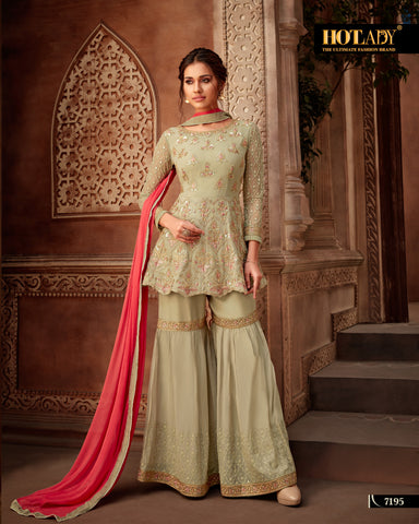 Sea Green Color Viscos Georgette Women's Semi-Stitched Salwar Suit - 7195