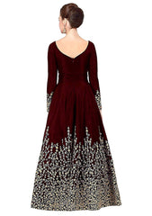 Maroon Color Georgette Women's Semi Stitched Gown - RKC-Maroonjalpari