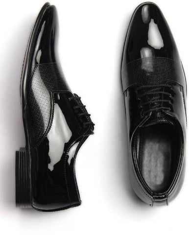Black Color Synthetic Leather Shoes - 721-BLACK