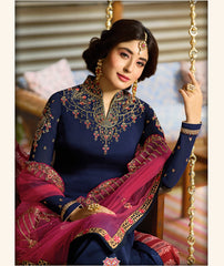 Navy Blue Color Satin Georgette Women's Semi Stitched Salwar Suit - 72318