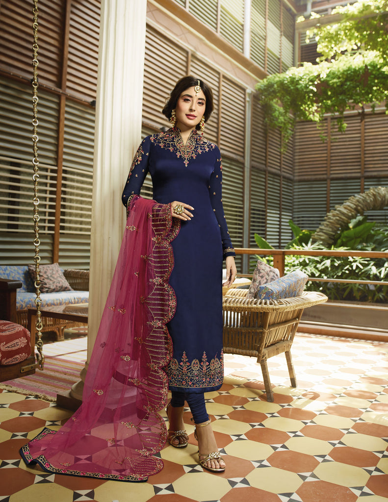 Buy Navy Blue Color Satin Georgette Women's Semi Stitched Salwar Suit