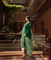 Forest Green Color Satin Georgette Women's Semi Stitched Salwar Suit - 72323
