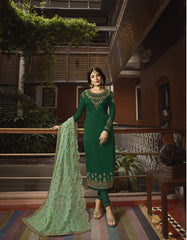 Buy Forest Green Color Satin Georgette Women's Semi Stitched Salwar Suit