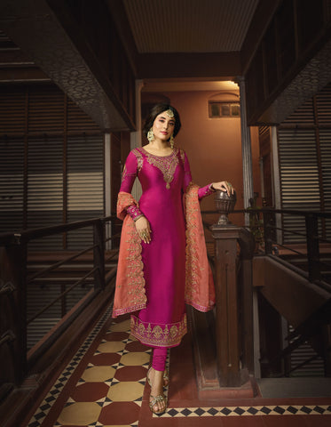 Rani Pink Color Satin Georgette Women's Semi Stitched Salwar Suit - 72324