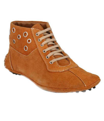 Tan Color Suede Leather Men's Casual Shoes - 7375_Tan