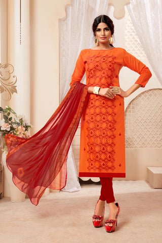Orange Color Model Silk Women's Semi-Stitched Salwar Suit - 73988