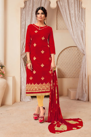 Red Color Model Silk Women's Semi-Stitched Salwar Suit - 73990