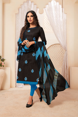 Black Color Model Silk Women's Semi-Stitched Salwar Suit - 73992