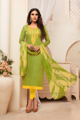 Olive Color Model Silk Women's Semi-Stitched Salwar Suit - 73994