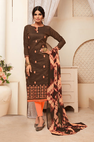 Brown Color Model Silk Women's Semi-Stitched Salwar Suit - 73995
