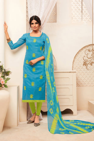 Sky Blue Color Model Silk Women's Semi-Stitched Salwar Suit - 73996