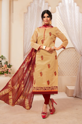 Beige Color Model Silk Women's Semi-Stitched Salwar Suit - 73997