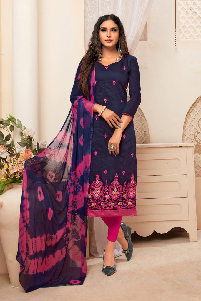 Buy Navy Blue Color Model Silk Women's Semi-Stitched Salwar Suit
