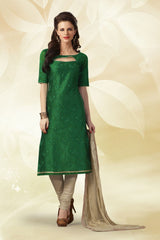 Bottle Green Color Chanderi Silk Salwars