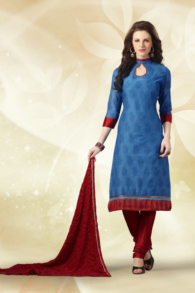 Blue Color Chanderi Silk Salwars