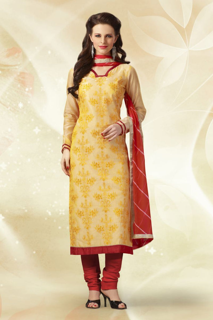 Lemon Yellow Color Chanderi Silk Salwars