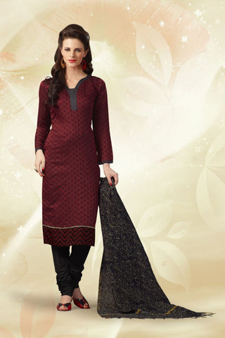 Maroon Color Chanderi Cotton Un Stitched Salwars - 74020