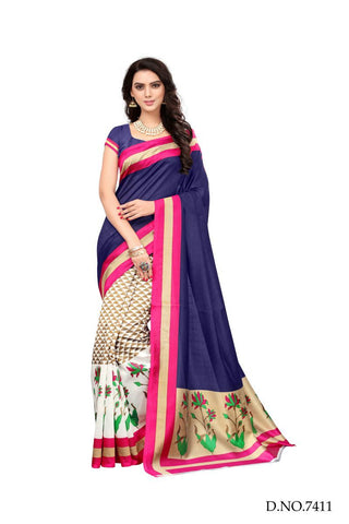 Multi Color Bhagalpuri Sarees - 7424