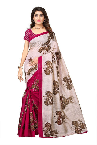 Pink and Cream Color Bhagalpuri Sarees - 7510