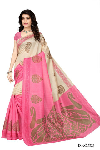 Pink and OffWhite Color Bhagalpuri Sarees - 7524