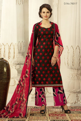 Black Color Chanderi Silk Un Stitched Salwars - 76017