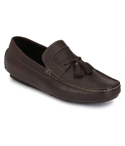 Brown Color Leather Men's Loafers - 7615_Brown