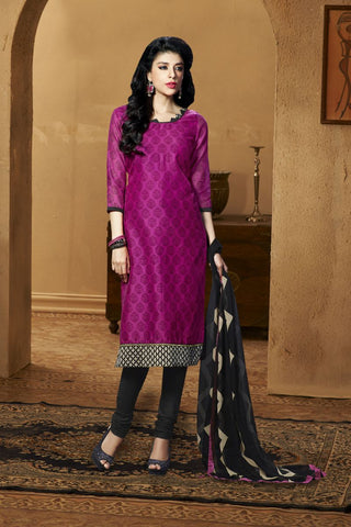 Magenta Color Chanderi Silk Un Stitched Salwar - 77003