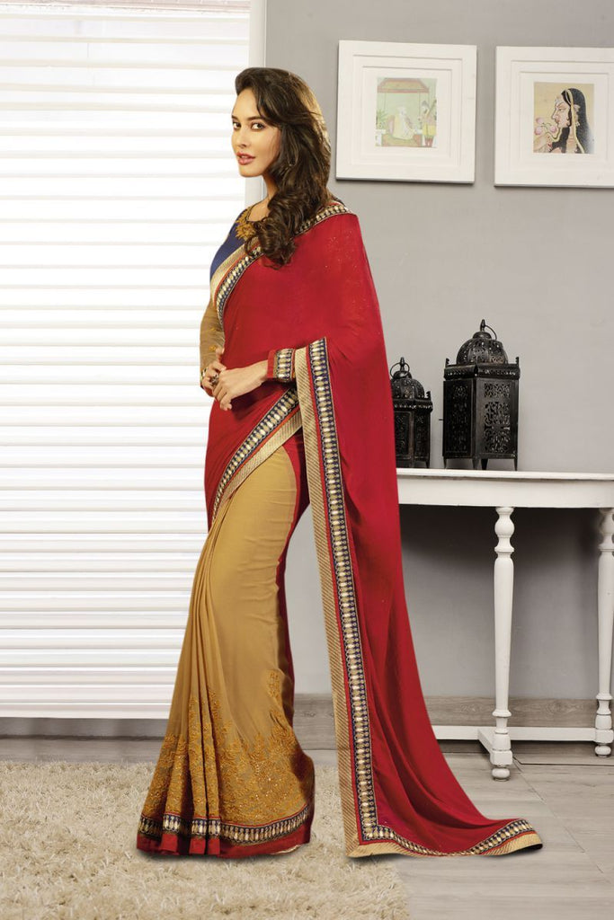 Red and Beige Color Pure Chiffon Saree