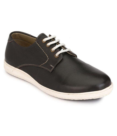 Black Color Leather Men's Casual Shoes - 7750_Black