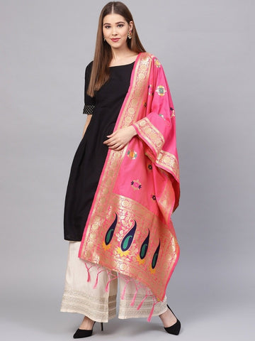 Pink Color Banarasi Silk Women's Dupatta - 77654