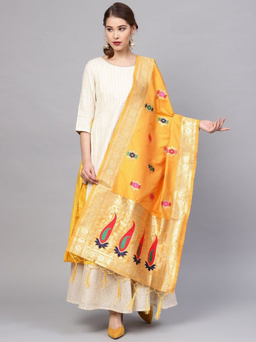 Yellow Color Banarasi Silk Women's Dupatta - 77655