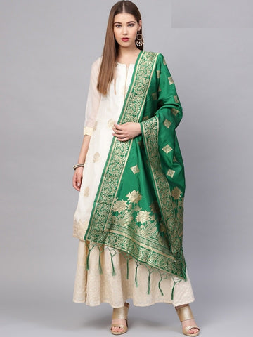 Green Color Banarasi Silk Women's Dupatta - 77807
