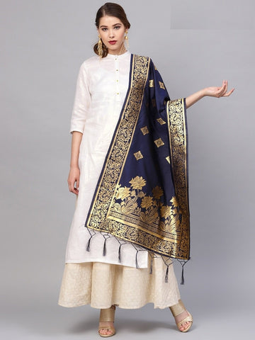 Navy Blue Color Banarasi Silk Women's Dupatta - 77808