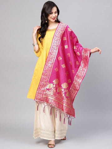 Rani Pink Color Banarasi Silk Women's Dupatta - 77810
