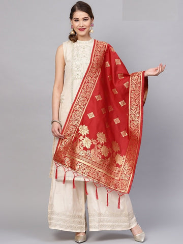 Red Color Banarasi Silk Women's Dupatta - 77811