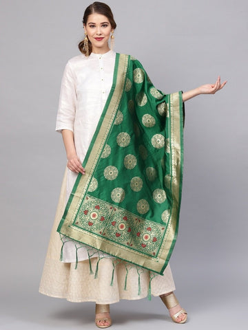 Green Color Banarasi Silk Women's Dupatta - 77813