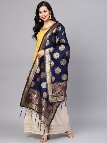 Navy Blue Color Banarasi Silk Women's Dupatta - 77814